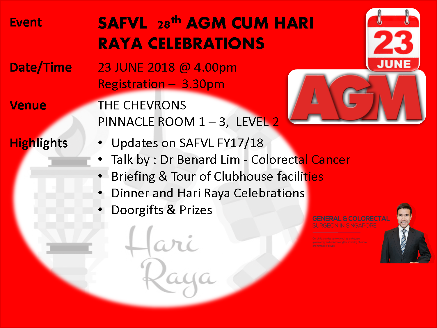SAFVL 28th Annual General Meeting cum Hari Raya Celebrations