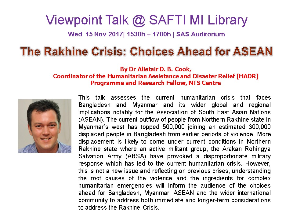 Viewpoint Talk : 'The Rakhine Crisis : Choices Ahead for ASEAN'